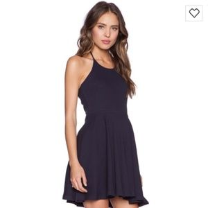 MINKPINK Time Flies Navy Halter Tie Dress